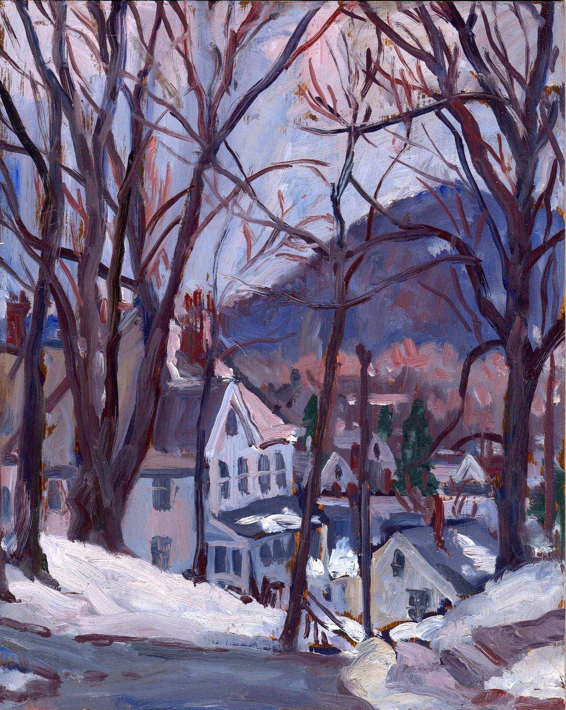 Blue Snow. Original Plein Air Oil Painting Framed Winter