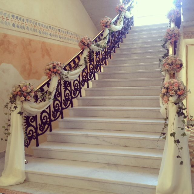 Elegant staircase decoration memorable weddings pinterest elegant staircase decoration wedding junglespirit Images