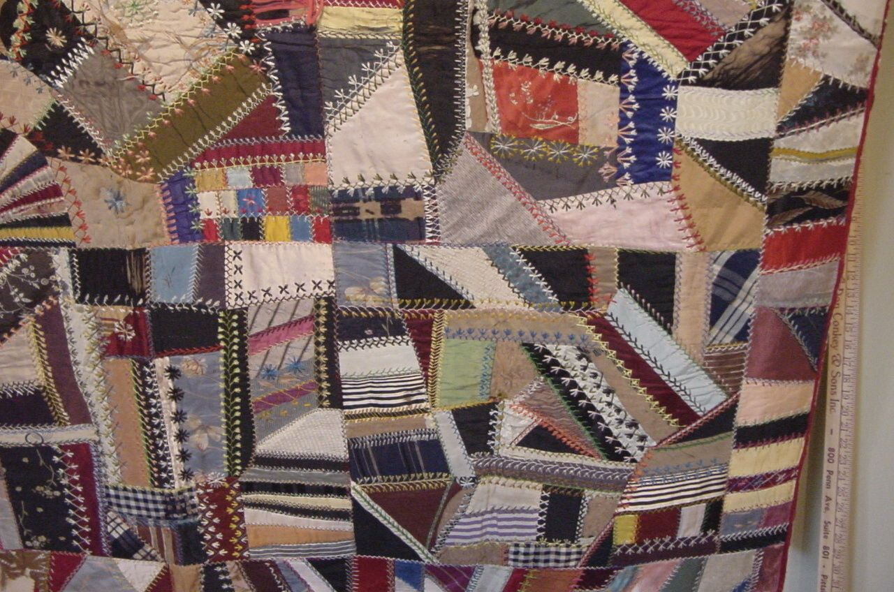 Aa+ one of a kind handmad antique crazy quilt 1891 ribbon detroit ... : history of crazy quilts - Adamdwight.com