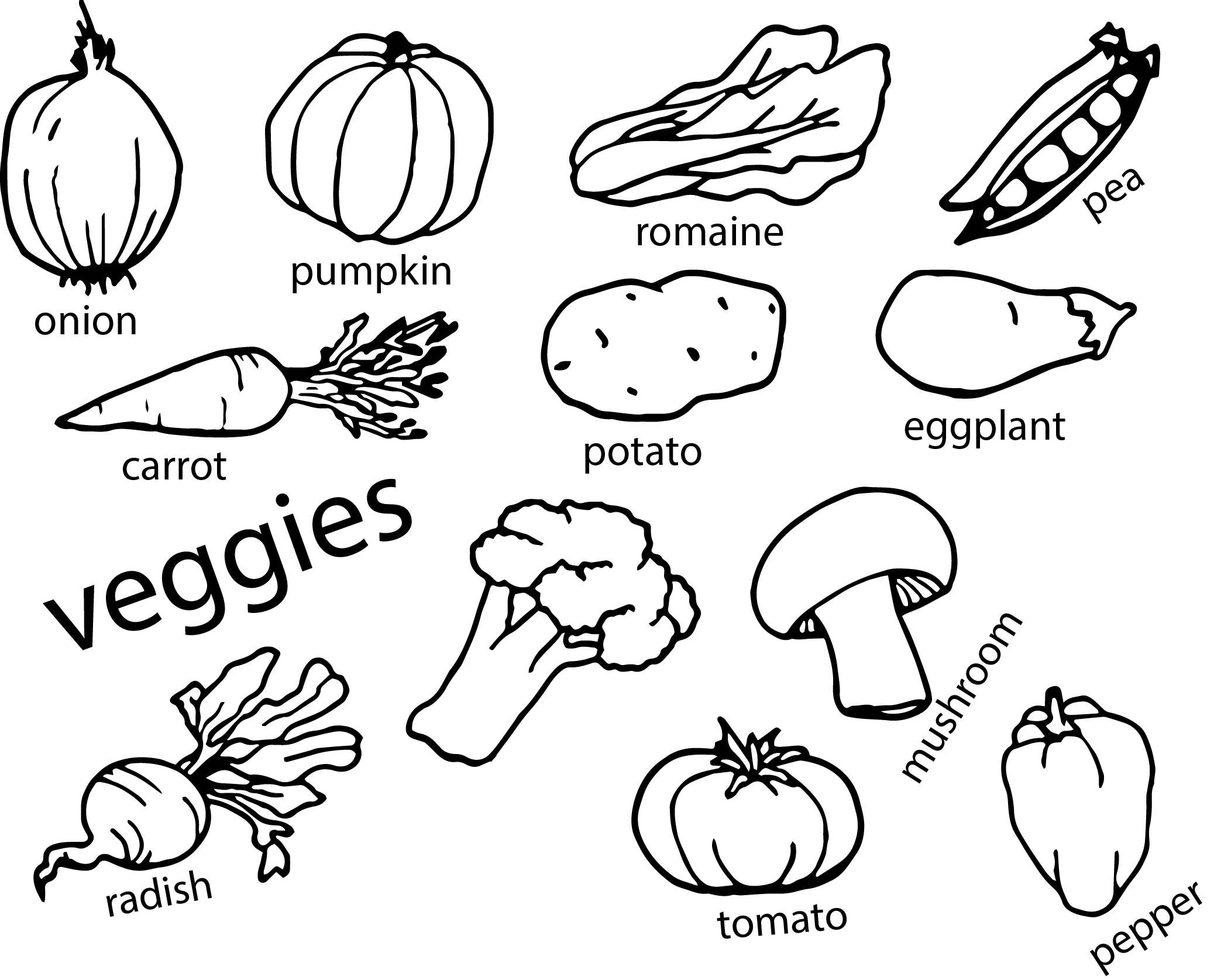 Nice vegetables coloring page