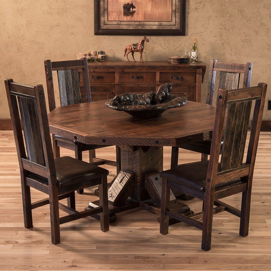 Rocky Creek Big Beam Octagon Dining Table Dining Table Rustic Round Dining Table Octagon Dining Table
