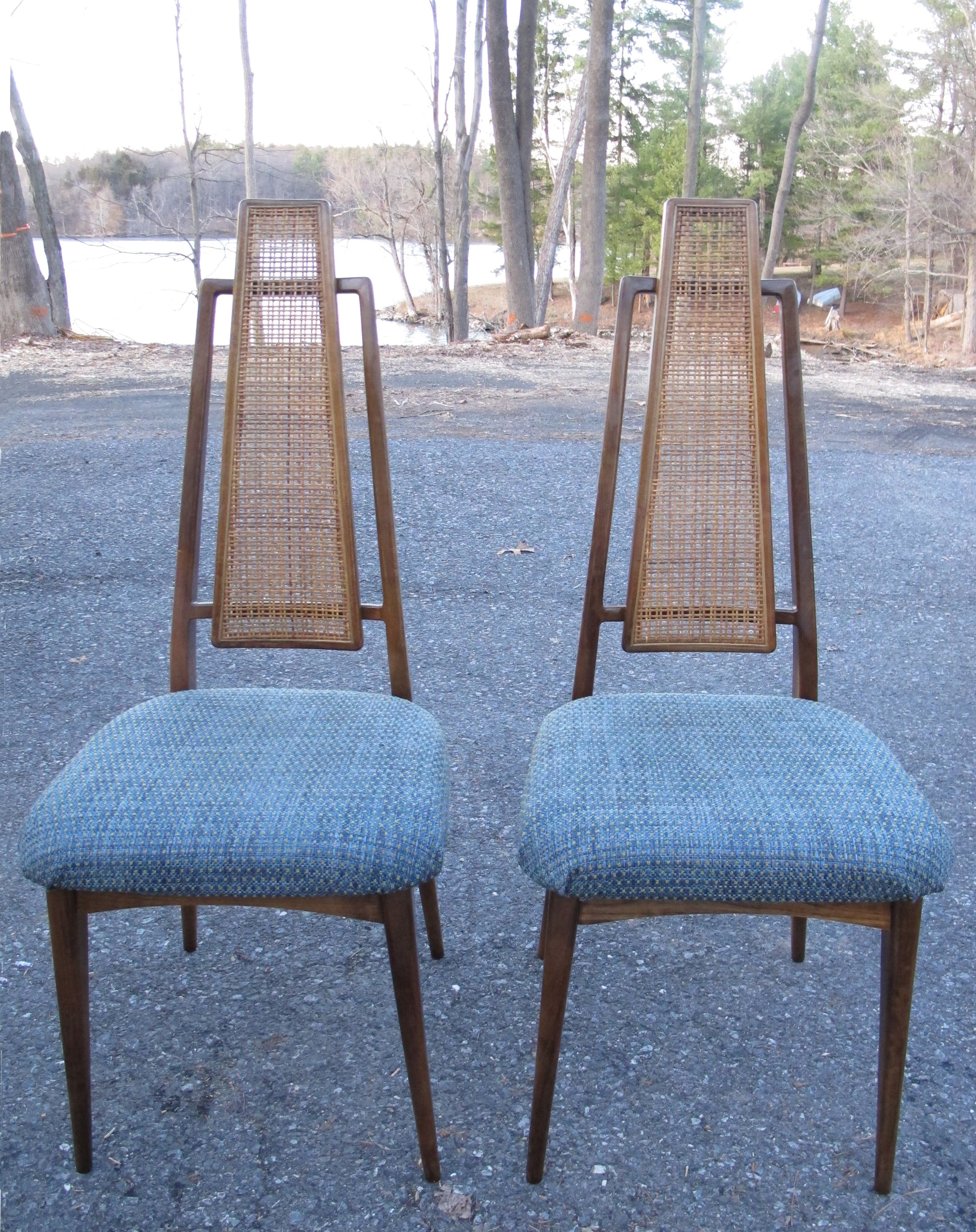 Pair Of Mid Century High Back Cane Dining Chairs Modern Vintage