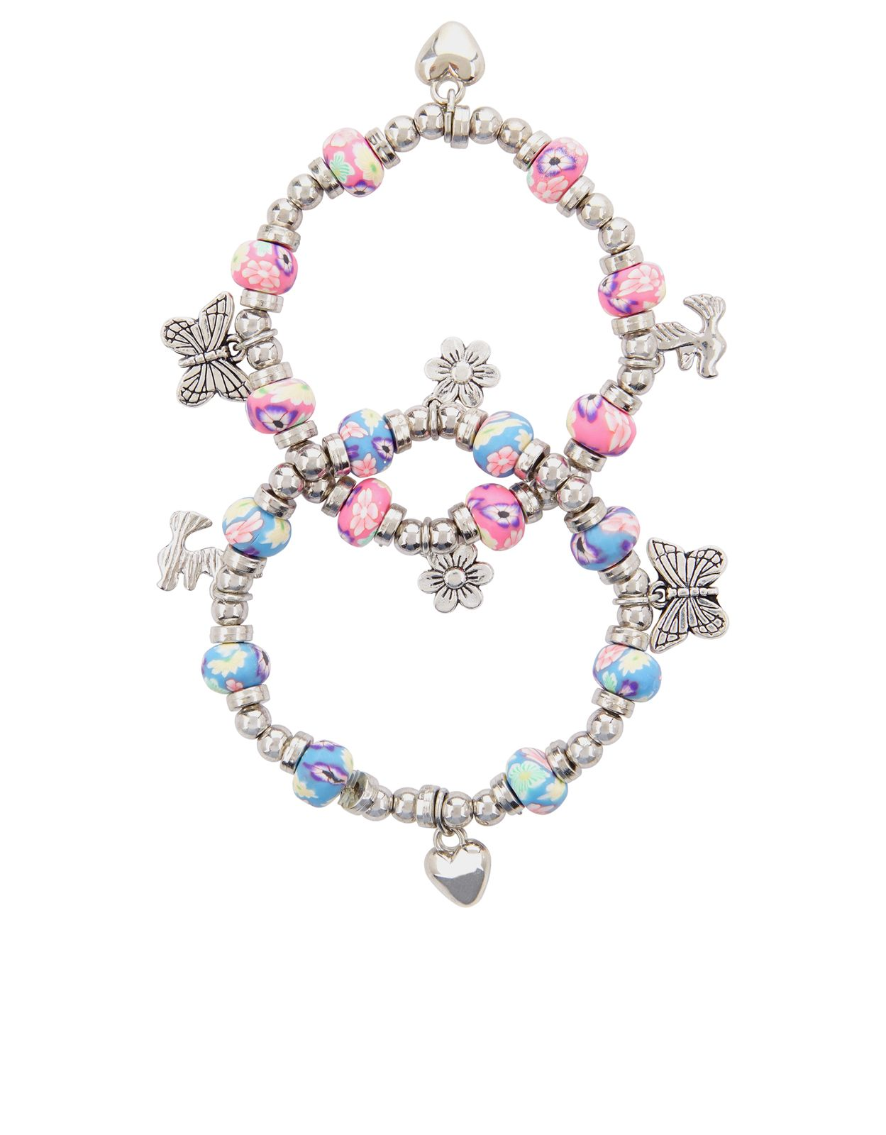 Our pretty fimo bead bracelets for girls are adorned with butterfly
