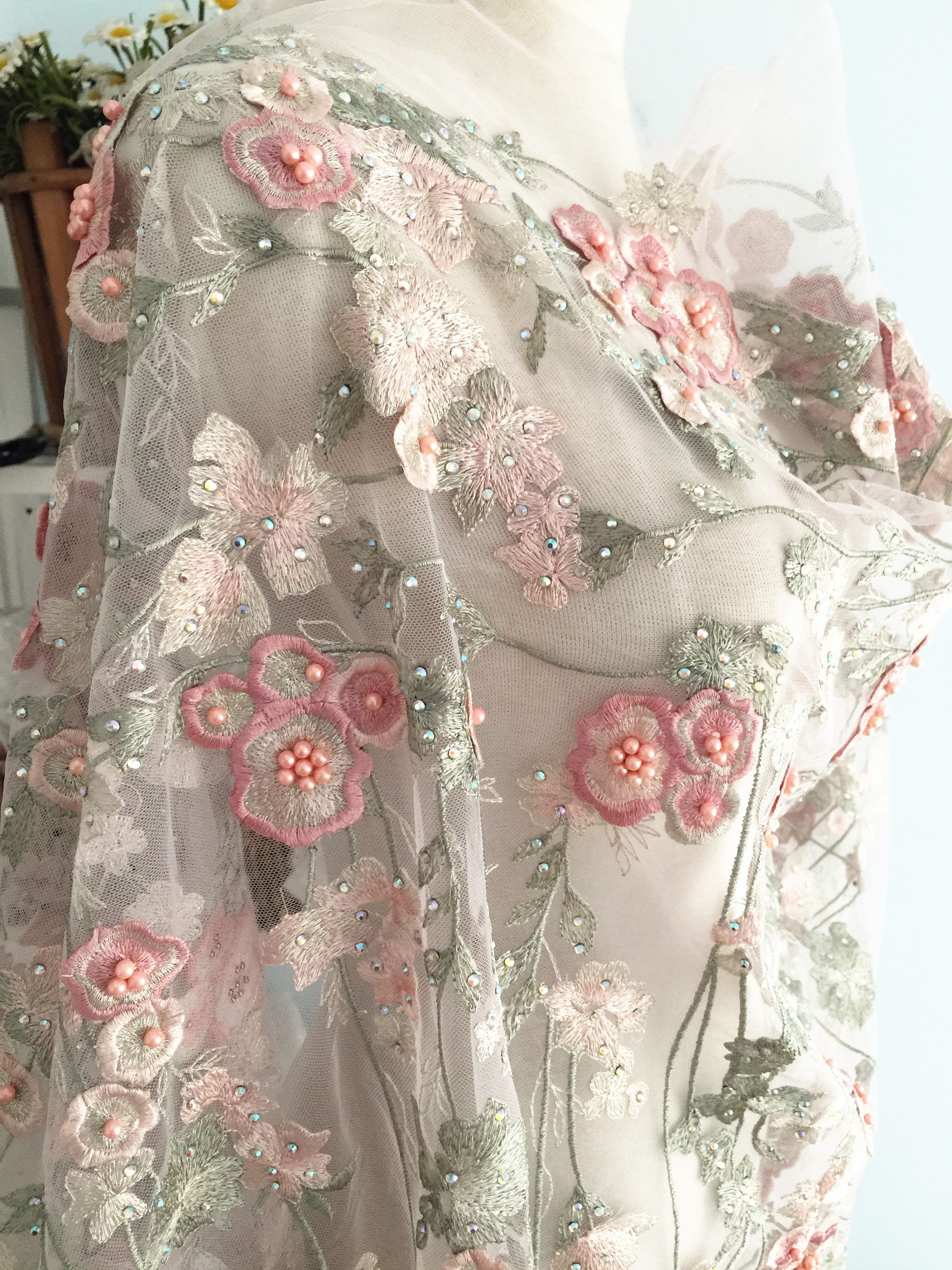 Shabby Chic Mesh/&Lace Sequined Rose Flower Trim for Bridal Wear Prom Dresses