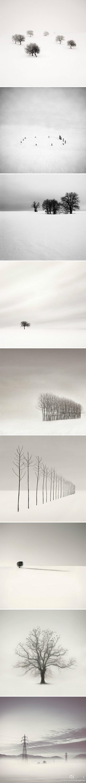 褪色的世界,白茫茫一片如此宁静。作者:Michael Kenna