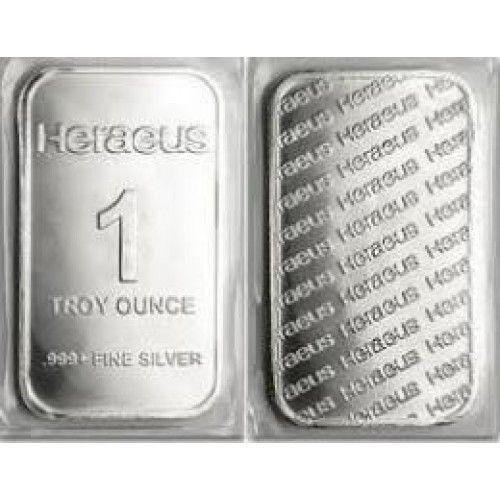 1 Troy Ounce Heraeus 999 Fine Silver Bullion Bar Silver Bullion Silver Valuable Metal