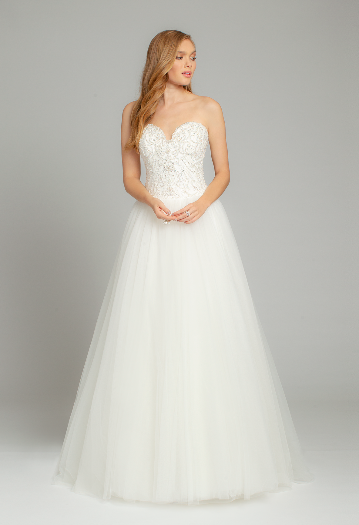 This beaded bustier ball gown wedding dress will have you