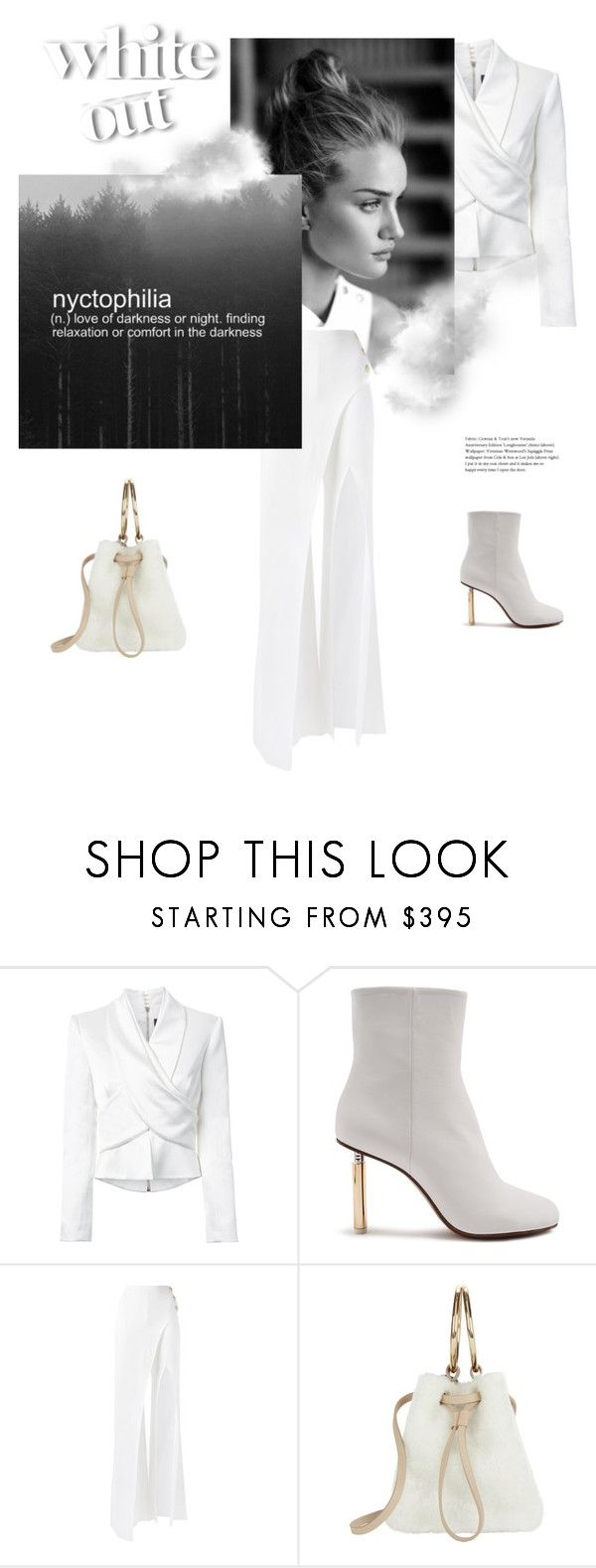 """nyctophilia"" by gabrielleleroy ❤ liked on Polyvore featuring Balmain, Vetements, Maison Boinet, monochrome, allwhite and polyvoreeditorial"