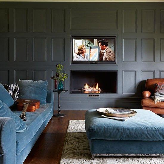 Grau verkleidet Familienzimmer Wohnzimmer Pinterest Living