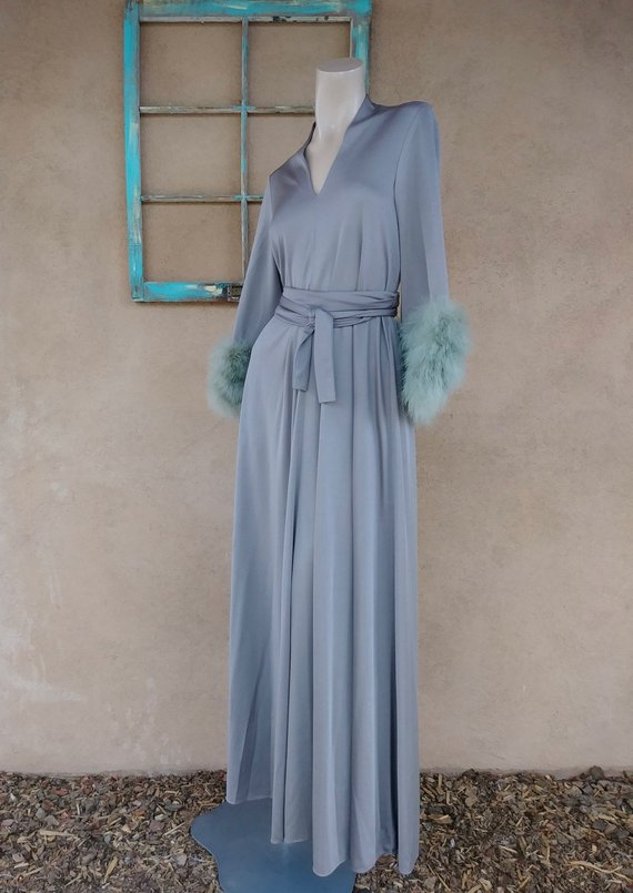 6a8dd4ee834d Vintage 1970s Lilli Diamond Feather Dress 70s Boho Maxi Maternity Sz ...