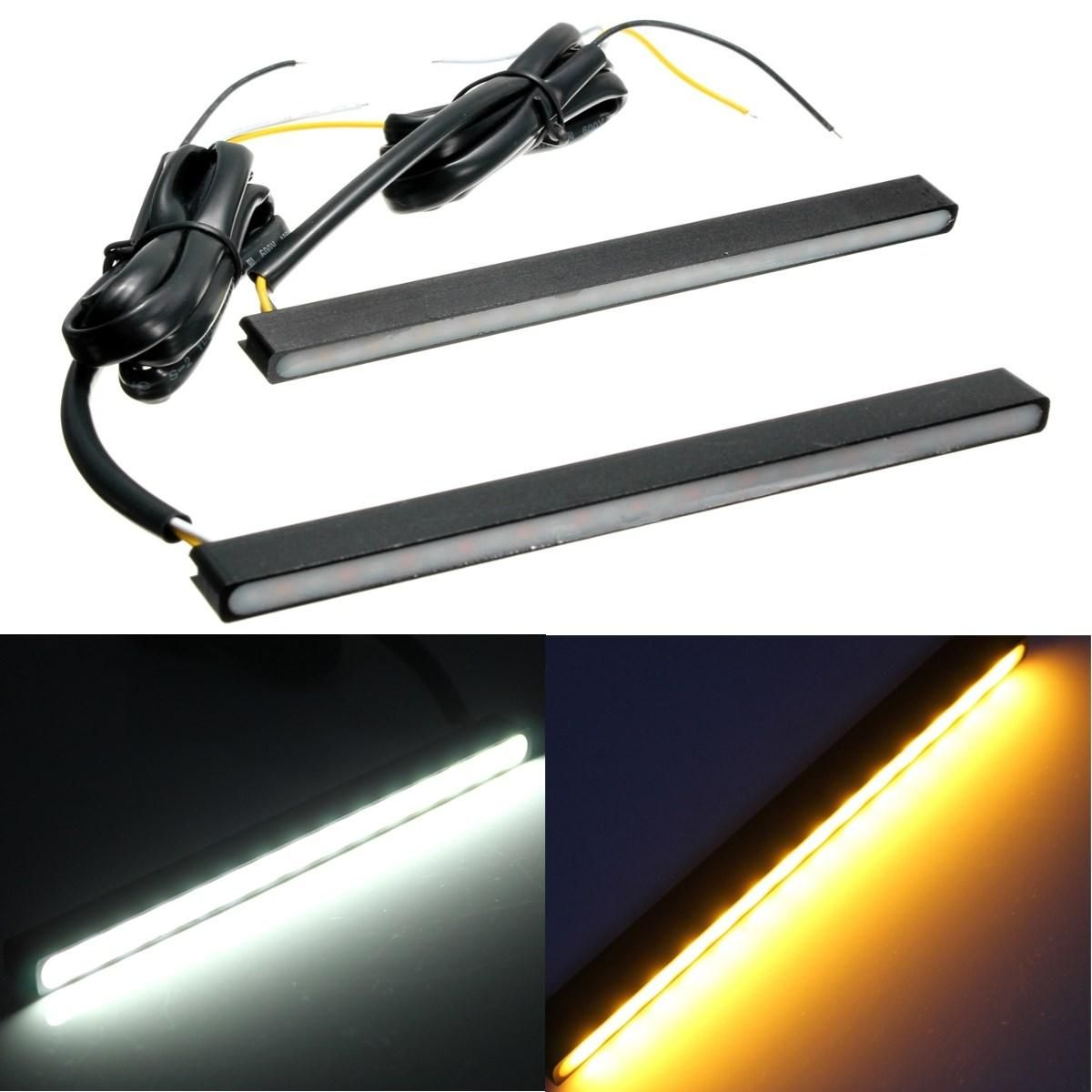 12V Pair Motorcycle White Daytime Running Lights DRL Amber Turn Signal Indcator