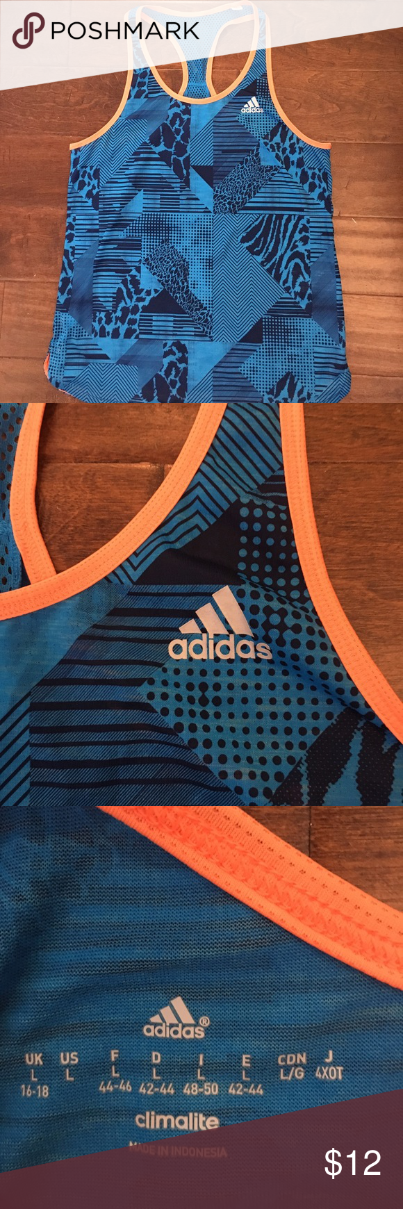 Get your workout on Need a new workout tank??? Here it is!!! Go out sporting in your Adidas bright blue and orange. Size large and in excellent condition Adidas Tops Tank Tops