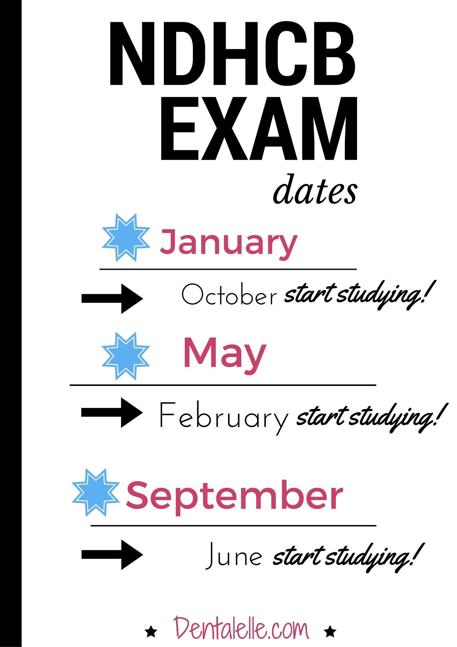 NDHCB exam dates! Keep this for your records dental hygiene students. Visit www.dentalelle.com for self study study materials, mock exams, and full prep courses with tutoring!