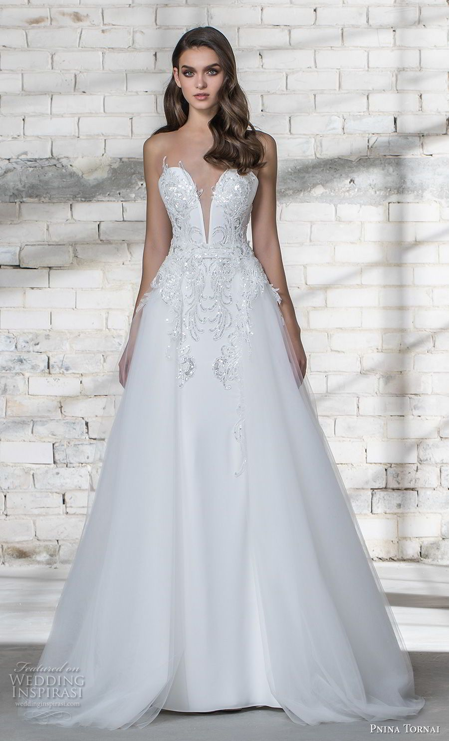 06086f38fa1 pnina tornai 2019 love bridal strapless deep plunging sweetheart neckline  heavily embellished bodice glitzy romantic sheath