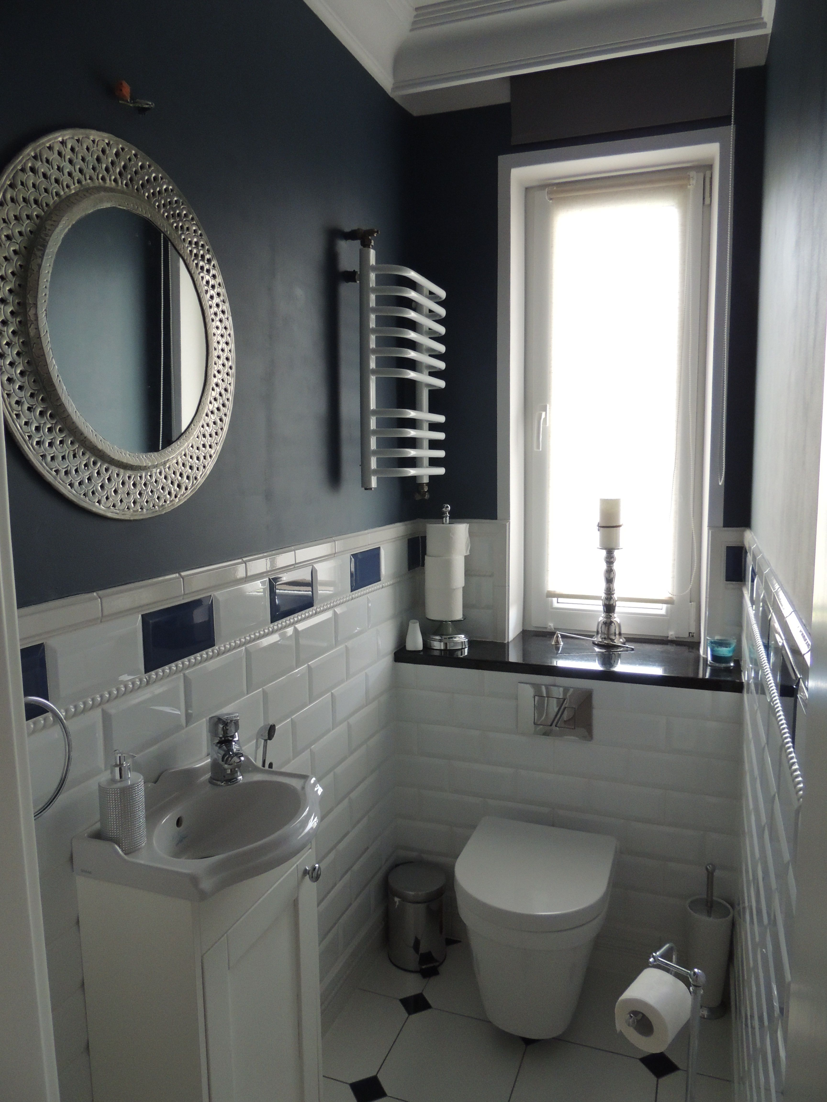 toilet white & navy blue My Home ❤ Pinterest