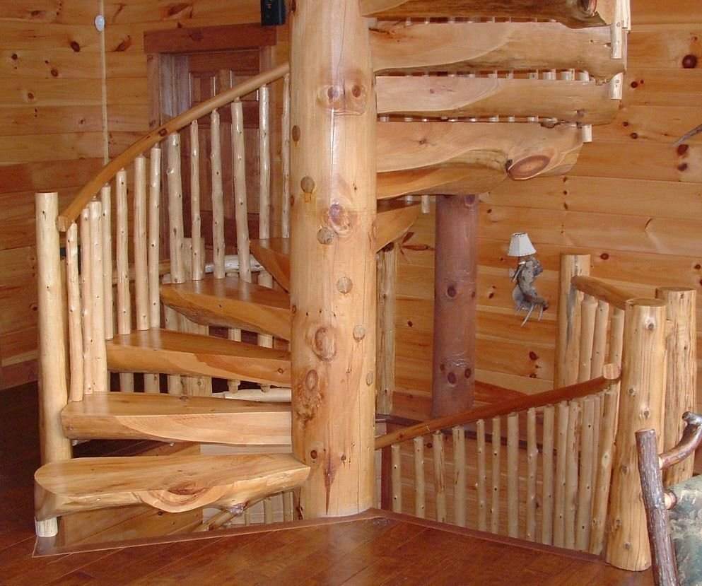 Self Made Wooden Log Spiral Staircase Dream Home