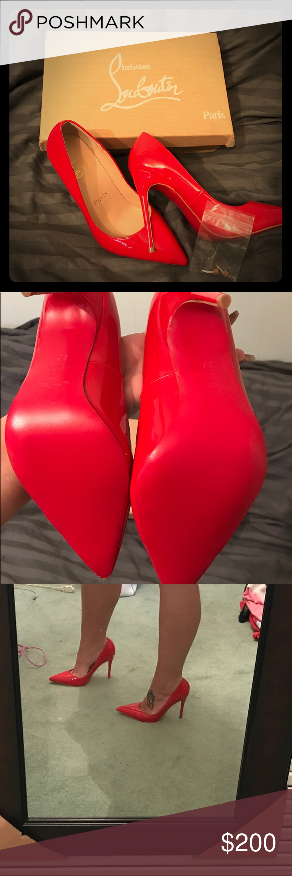 NOT AUTHENTIC Christian Louboutins : Red Bottoms These ARE NOT AUTHENTIC. They are still beautiful, well made high heels!!! Never worn. I wear a size 6 and these are a little too big for me sadly. Christian Louboutin Shoes Heels