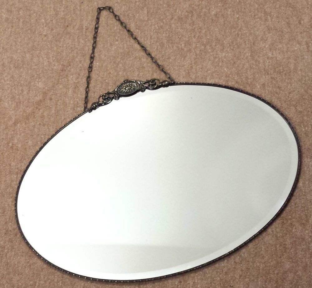 Large vintage art deco bevelled wall mirror chain 1930s oval large vintage art deco bevelled wall mirror chain 1930s oval chrome edge detail amipublicfo Choice Image