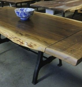 Live Edge Table With Extension On Either Side Table Coffee