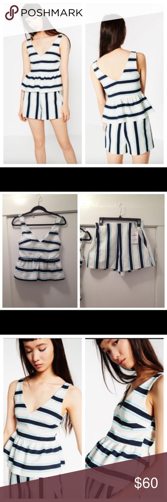 abb372a9fa Zara NWT shorts & tank stripe 2 piece sz SM set Super cute 2 piece Zara