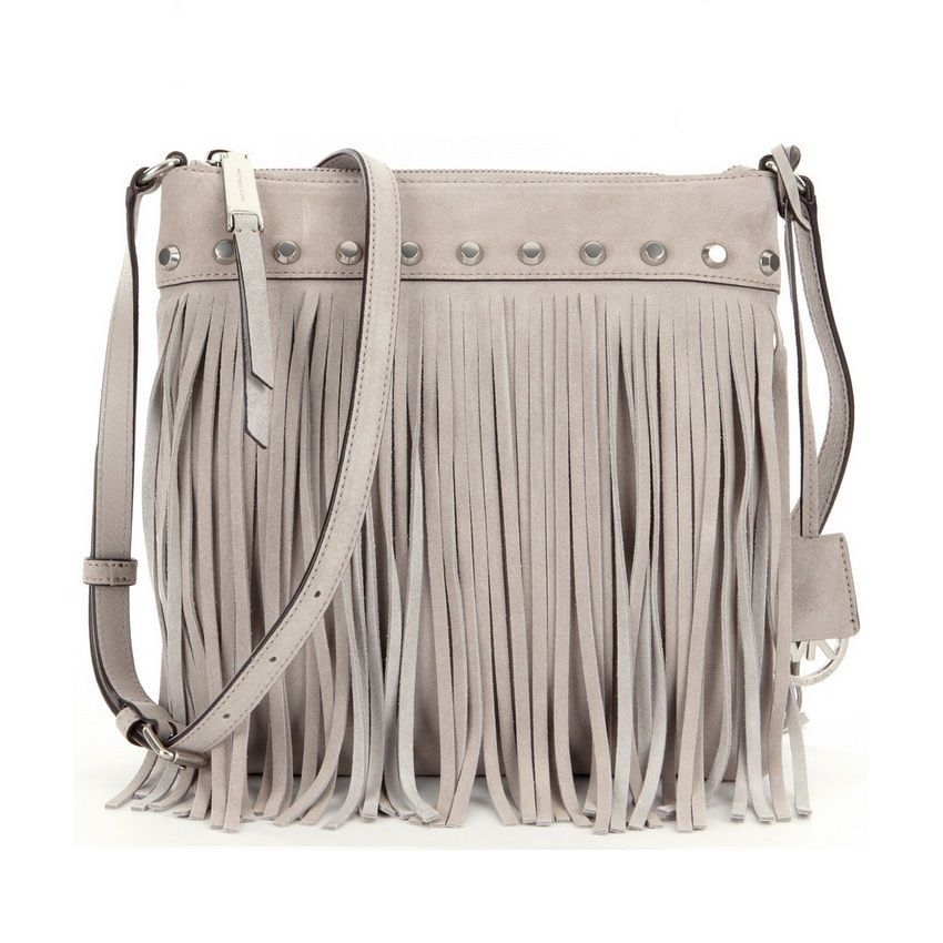 a622e099d125e1 Michael Michael Kors Suede Billy Fringe Small Cement Crossbody Handbag