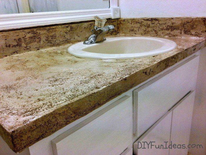 Super Easy Concrete Overlay Vanity Makeover Diy Bathroom Vanity Diy Bathroom Vanity Makeover Bathroom Vanity Makeover