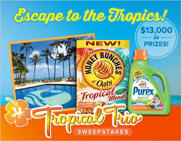 *THIS SWEEPSTAKES HAS ENDED* Enter to #WIN a tropical vacation for two at Outrigger Waikiki, a year's supply of Purex Tropical Splash detergent and Honey Bunches of Oats Tropical Blends cereal, plus other freebies!