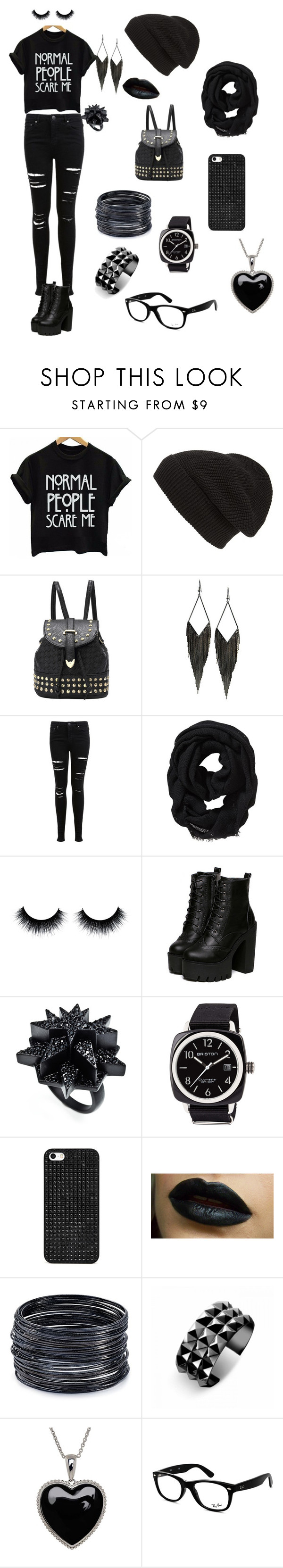 """""""Black outfit"""" by jenabbyreid on Polyvore featuring Phase 3, GUESS, Miss Selfridge, Old Navy, Eddie Borgo, Briston, BaubleBar, ABS by Allen Schwartz, Waterford and Lord & Taylor"""