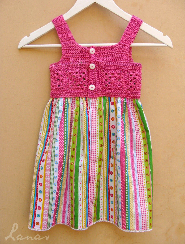 vestido crochet e tecido | Vestuário | Pinterest | Kinderkleider ...