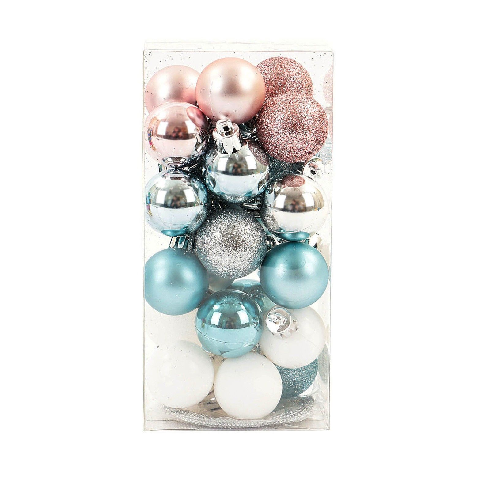 This Versatile 25 Piece Set Of Mini Shatterproof Balls Is A Holiday Decor Staple Use T Pink Christmas Ornaments Teal Christmas Tree Pink Christmas Decorations