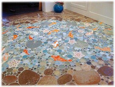 faux koi fish pond tile design love
