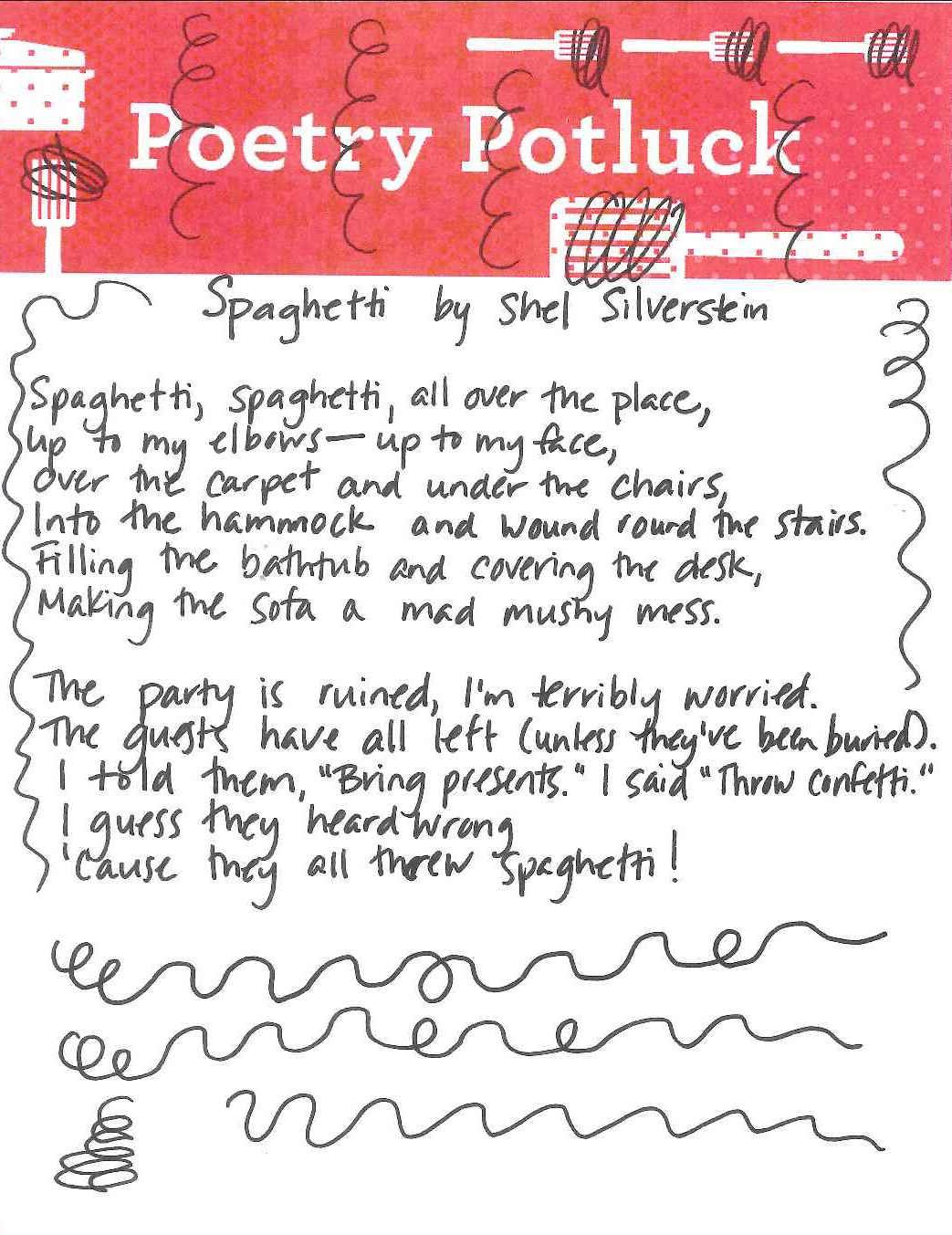 Poetry Potluck Spaghetti By Shel Silverstein