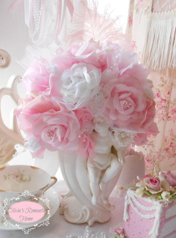 Pink Princess  Rose Vintage Cherub Angel Shabby Chic Rose Flower Arrangement SCT White French Lace. via Etsy.
