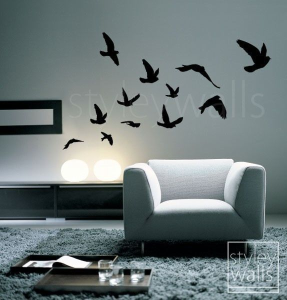 flying birds wall decal birds wall sticker flying birds set of 12 vinyl wall decal for office home decor room art flying birds sticker - Bird Wall Decor