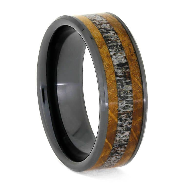 Deer Antler Wedding Band With Whiskey Barrel Oak In Black Ceramic 3764 Deer Antler Wedding Band Antler Wedding Band Antler Ring