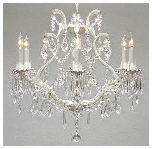 $191.87  Gallery T40-200 Wrought Iron 6 Light 1 Tier Crystal Candle Style Chandelier with traditional-chandeliers