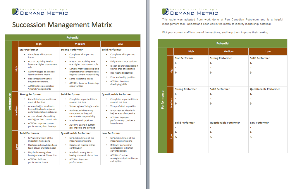 Succession Management Matrix Use this to identify and