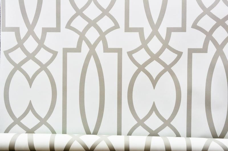 York Lattice Watercolor Geometric Grey Trellis Wallpaper