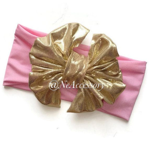 Gold Bow Headband Pink and Gold Head Wrap  Pink & by NeAccessory