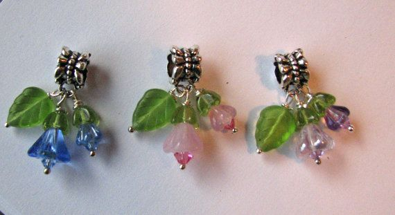 Flower Charm European Charm Bead Spring Wedding Prom Charm  European Slide Charm Pink Blue Lavender