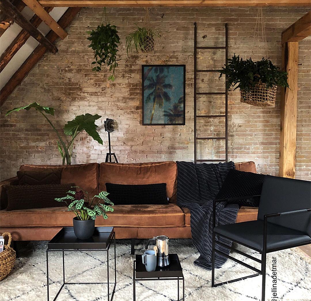 Essa Decoracao De Sala Ficou Linda Misturando Um Estilo Industrial Com Urban Jungle O Q Interior Da Casa Moderna Salas Industriais Design De Interiores Casa