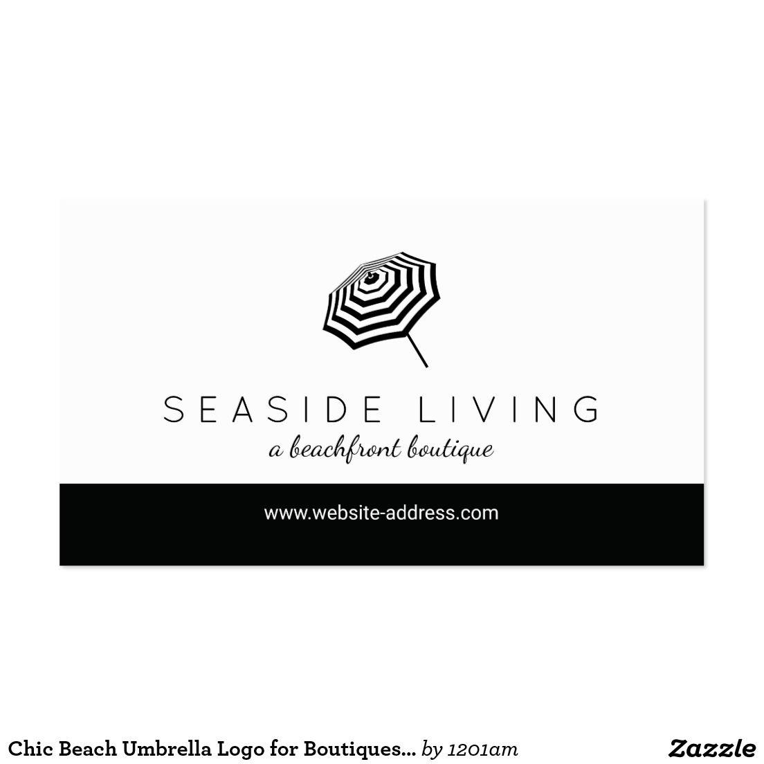 Chic Black and White Striped Beach Umbrella Logo Boutique Business ...