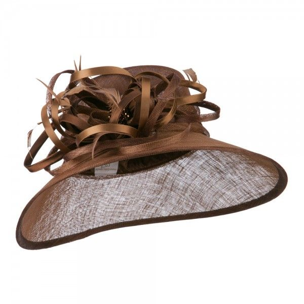 Dressy - Brown Two Tone Satin Sinamay Hat // e4Hats