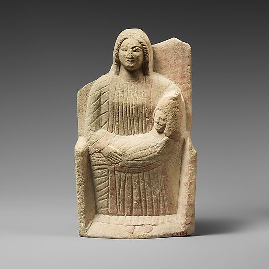 Statuette of a woman nursing  Culture: Cypriot Medium: Limestone Dimensions: Overall:H.: 9 x W.:5 1/4 x D.:1 5/8 in. (22.9 x 13.3 x 4.1 cm) Classification: Stone Sculpture Credit Line: The Cesnola Collection, Purchased by subscription, 1874–76 Accession Number: 74.51.2520