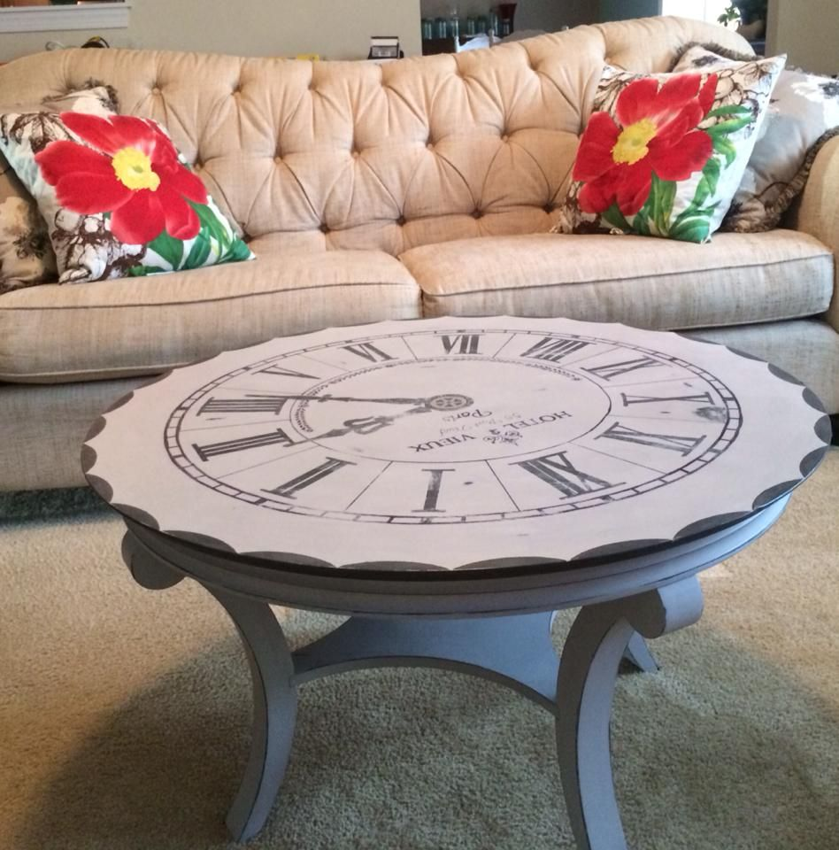 A lovely painted clock coffee table painted with paris grey a lovely painted clock coffee table painted with paris grey graphite and french linen chalk geotapseo Image collections