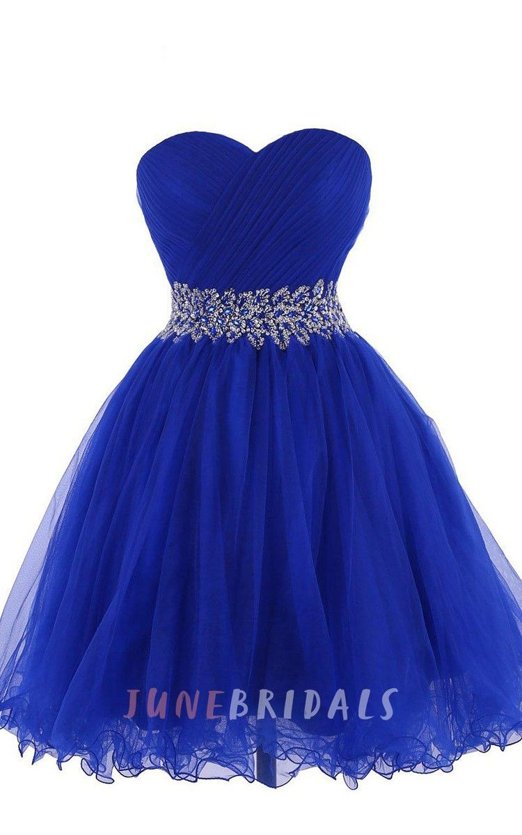 Sweetheart aline short dress with beaded waist homecoming dresses
