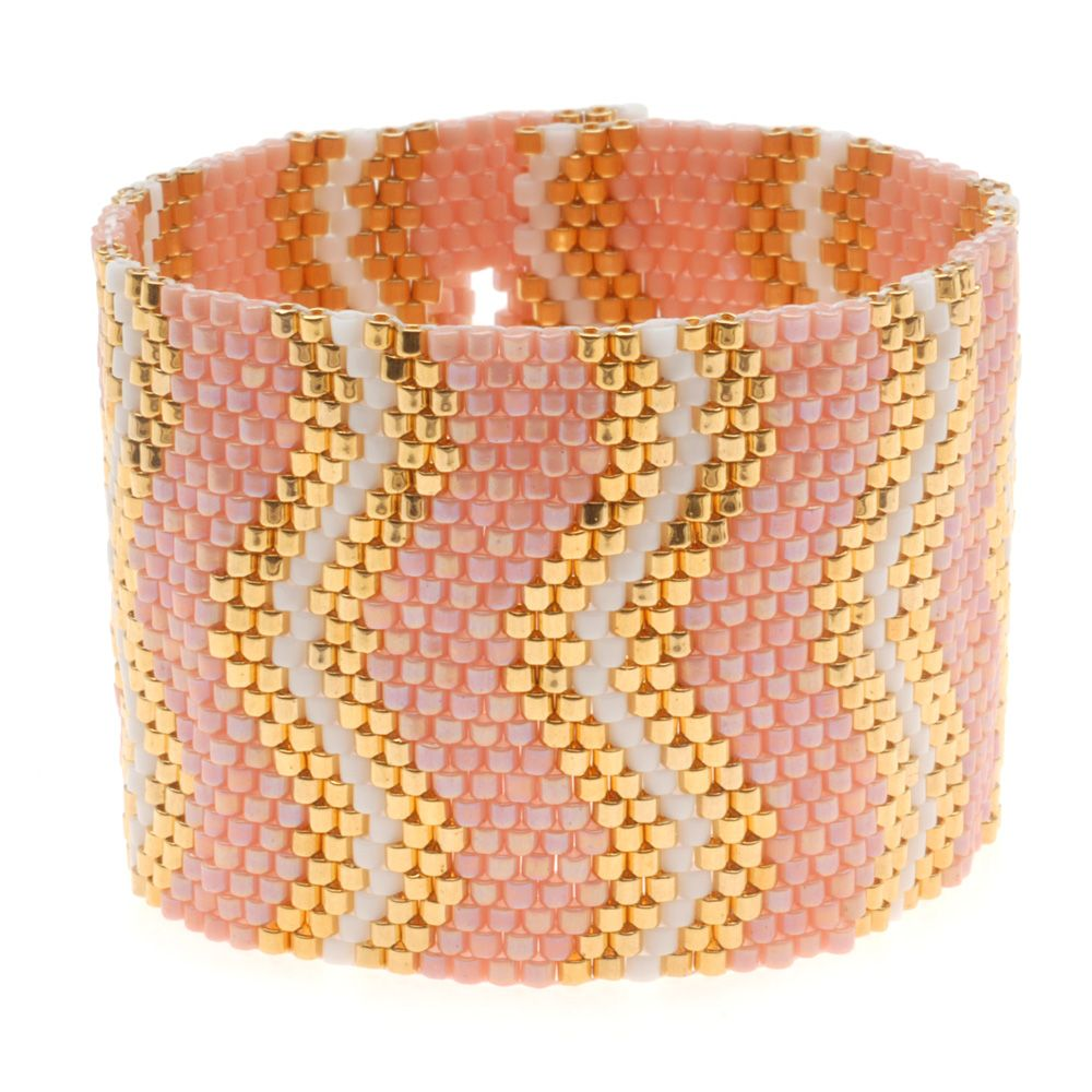 Coral Wave Bracelet flat even count Peyote from Beadaholique