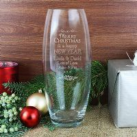 Personalised Happy Christmas and Happy New year Glass Vase