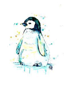 PENGUIN PRINT penguin watercolour penguin baby penguin art