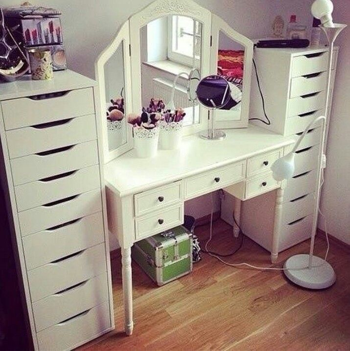 Big Desk Coiffeuse Mirror Light Maison Decoration Rangement